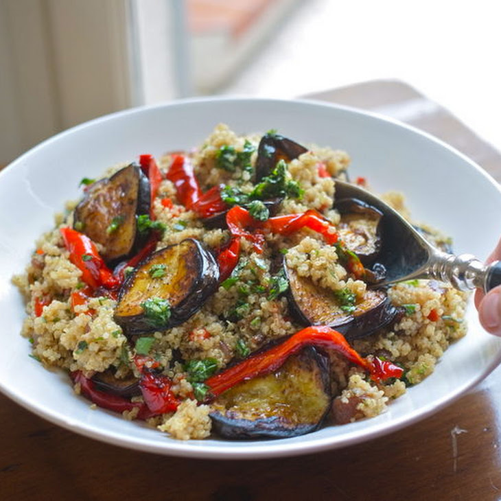 Roast Vegetable Quinoa Salad With Garlic & Parsley Oil