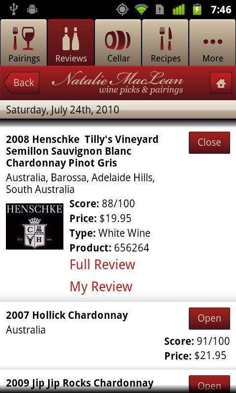 Natalie MacLean Wine Picks - screenshot
