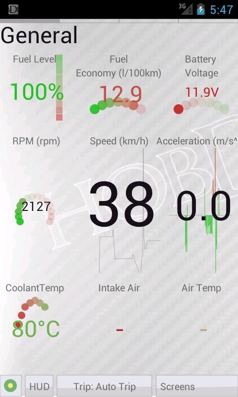 HobDrive OBD2 ELM327, car diagnostics, trip comp- screenshot