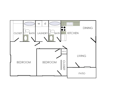 two bedroom with patio  balcony