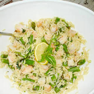 Orzo and Shrimp Salad with Asparagus.