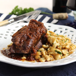 Slow Cooker Braised Beef Short Ribs with Herbed Spaetzle