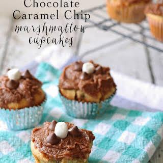 Chocolate Caramel Chip Marshmallow Cookie Cupcakes.