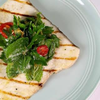 Swordfish Paillard with Spicy Grapefruit Salad.