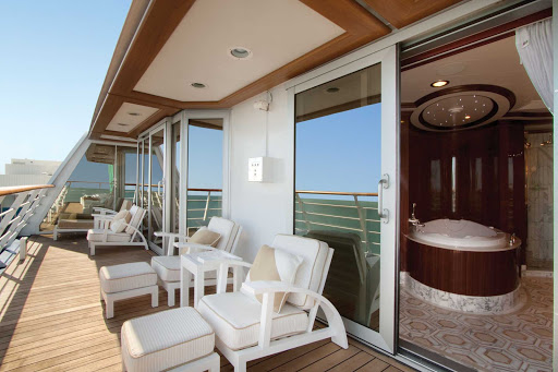 Revel in the view from your own private balcony when you stay in the Owners Suite aboard Oceania Riviera.