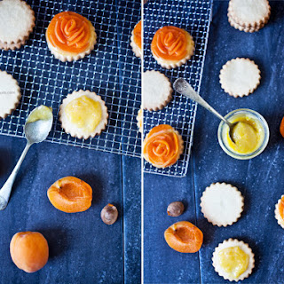 Breton Shortbread Cookies with Lemon Curd and Apricots.
