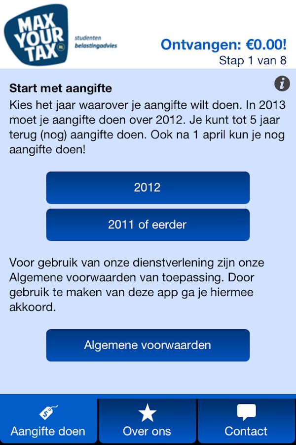 Aangifte 2014 MaxYourTax- screenshot