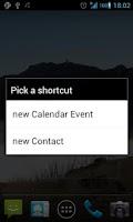Screenshot of Shortcuts new Event/Contact