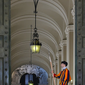 Guard by Dominic Schroeyers - Buildings & Architecture Places of Worship ( swiss, interior, rome, lamp, vatican, basilica, light, pope )