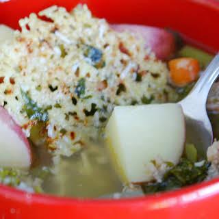 Sausage & Kale Crockpot Soup with a Lemon Basil Parmesan Snow Flake.