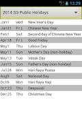 Screenshot of SG Holiday Calendar 2016