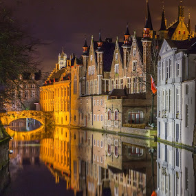Bruges II by Pascal Hubert - City,  Street & Park  Night