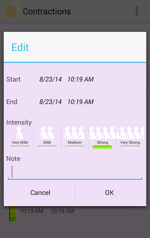 My Contractions Tracker- screenshot
