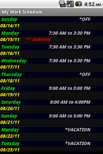 My Work Schedule - screenshot thumbnail