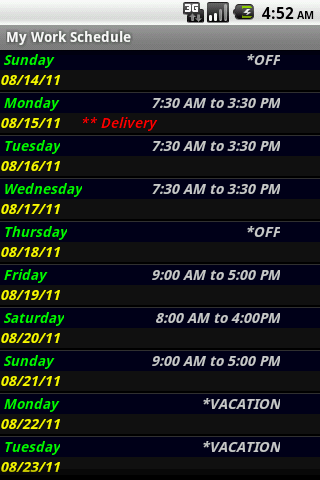 My Work Schedule- screenshot