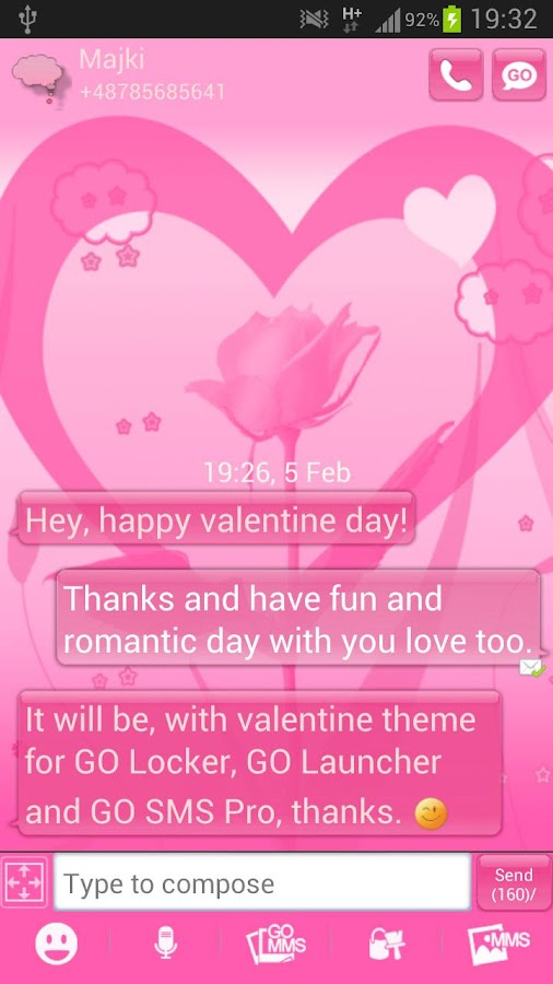 GO SMS Pro Theme Valentine - screenshot