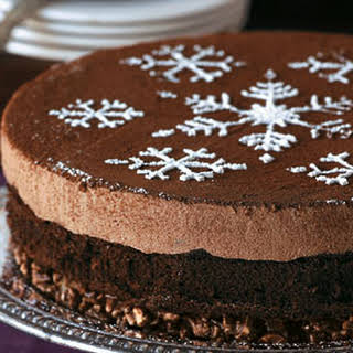 Milk Chocolate Mousse Cake with Hazelnut Crunch Crust.