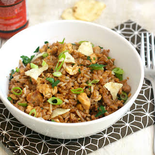 Turkey Fried Rice with Crushed Potato Chips.