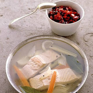 Poached Salmon with Beet Relish.