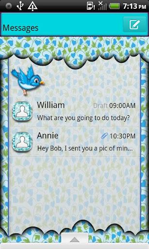 GO SMS THEME BlueBird4U2