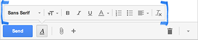 Gmail Compose Formatting toolbar screenshot