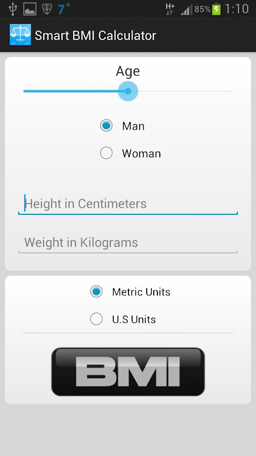 Smart BMI Calculator - screenshot