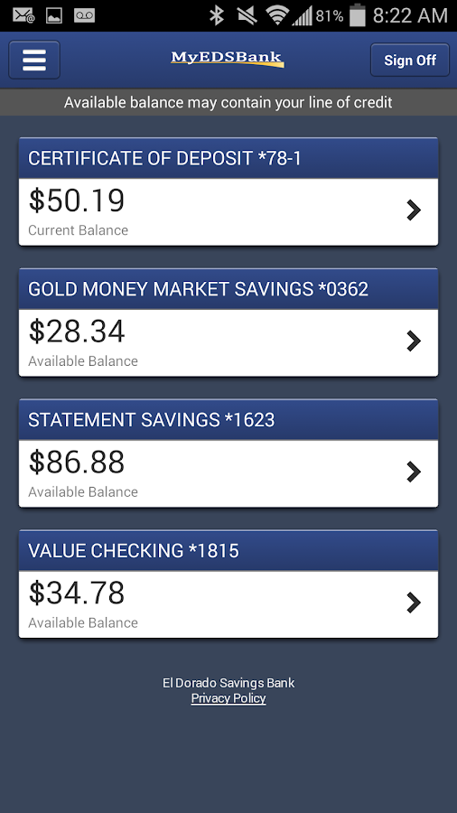El Dorado Savings Bank Mobile- screenshot