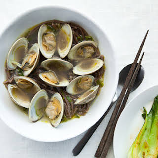 Sake-Steamed Clams with Soba Noodles.