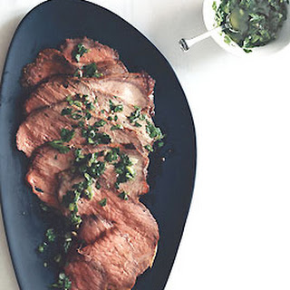 Roast Beef with Scallion-Caper Green Sauce.