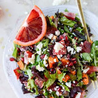 Winter Chopped Salad with Roasted Sweet Potato and Blood Orange Vinaigrette.