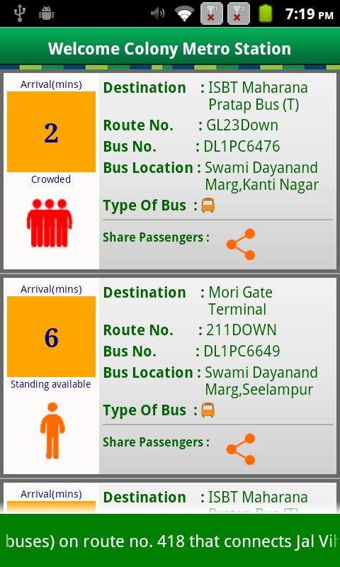 NextBus Delhi - screenshot