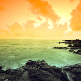Color of Life by Sandeep Nagar - Landscapes Waterscapes ( orange, sky, nature, green, cloud, sea, seascape, rocks,  )
