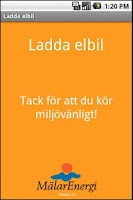 Screenshot of Mälarenergi Ladda elbil