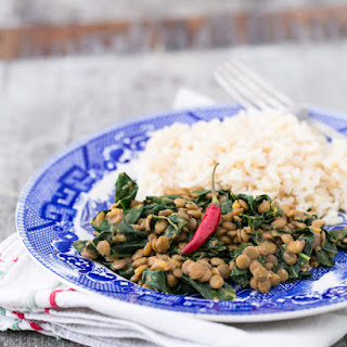 Quick Coconut Curry Lentils with Greens