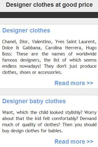 Designer clothes at good price