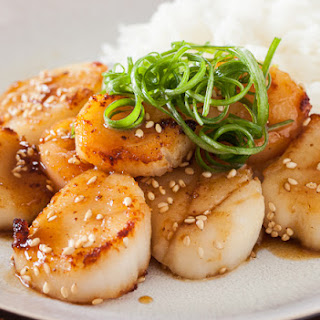 Scallop with Mustard Miso Sauce.