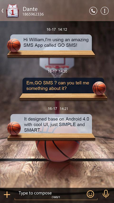 GO SMS PRO DUNK THEME- screenshot