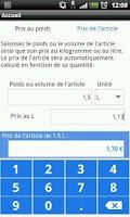 Screenshot of Calcul prix au Kg ou au litre