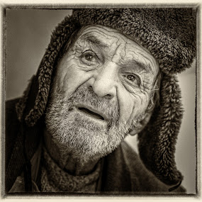 +90 by Hurghis Vasile - People Portraits of Men ( expression, urban exploration, vintage, black and white, strong, portret, still life, digital art, street, old man, people )