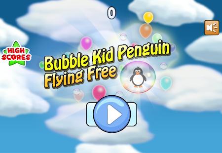 Bubble Kid Penguin Flying Free