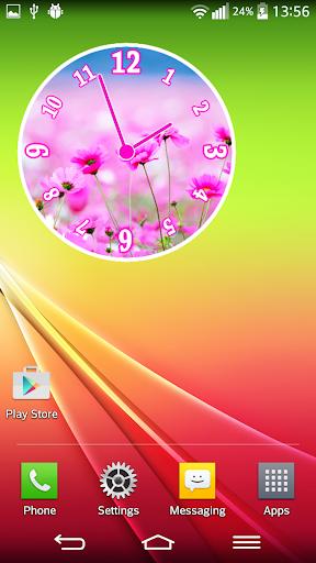 ピンクの時計ウィジェット