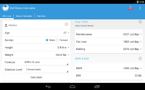 MyFitness Calculator BMI IIFYM- screenshot thumbnail