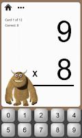 Screenshot of Monster Math Flash Cards