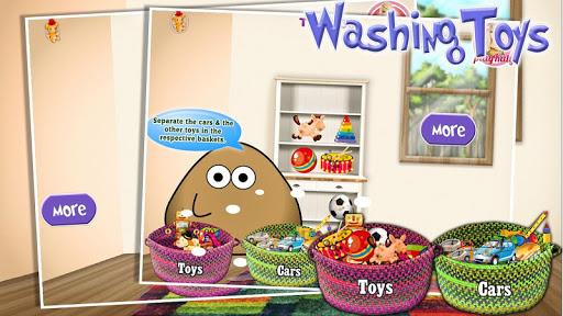 Peter washing toys