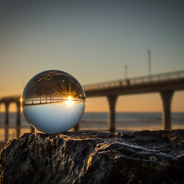 I foresee a beautiful sunrise by Martyn Cook - Artistic Objects Glass ( crystal ball, brighton pier, sunrise, beach, new brighton beach )