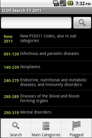 ICD-9 Medical Code Search FY11- screenshot