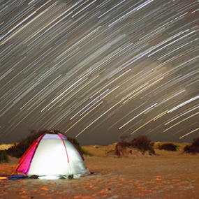 Camping Star Trails by James Reil - Landscapes Starscapes ( camping, assateague island, time lapse, stars, star trails, beach, night sky, milky way )