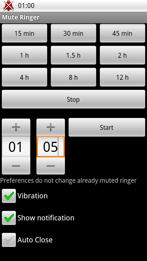 Mute Ringer (silent for T min)- screenshot