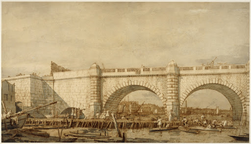 Giovanni Antonio Canaletto, The western arches of Westminster Bridge, pen and ink with wash over black chalk