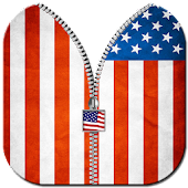 USA Flag Zipper Screen Lock